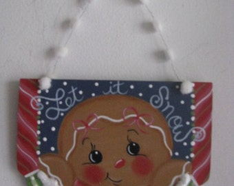gingerbread, ginger girl, snow, winter, wall hanging, wall decor, handpainted