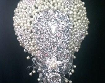"""Pearl  cascade  brooch  bridal wedding bouquet 8"""" x 12"""""""