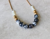 Speckled Agate Necklace, Long Statement Necklace