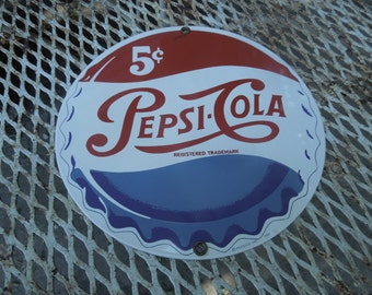 Porcelain Pepsi Sign Andy Rooney Pepsi-Cola Bottle Cap Advertising Button Sign Enameled Sign