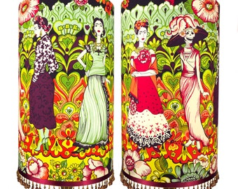 Tall Frida Kahlo Day of the Dead Beaded Luxury Lampshade or Ceiling Shade