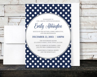 Bridal Shower Invitations - Gray Navy Blue Polka Dot - Winter Navy Blue Polka Dot - Printed Invitations