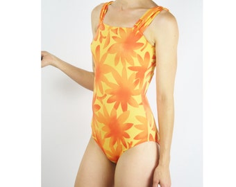 Vintage one piece bathing suit, Orange swimmers, Pool-side Bodysuit, XS Small