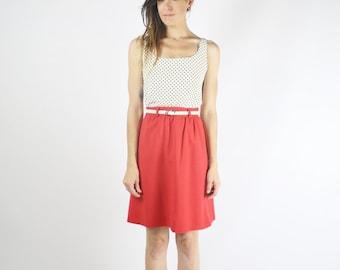 Red Vintage Skirt, 80s Cotton Linen skirt, Belted Short skirt, XS