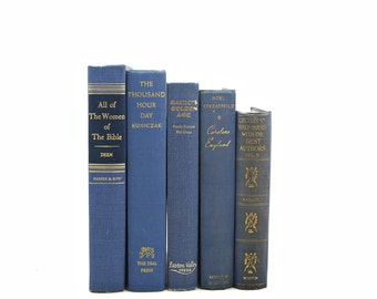 BLue BOoks, Decorative Books, Antique Book Decor, Wedding Decoration, Book Set, Instant Library Old Book Collection Navy BOok Stack