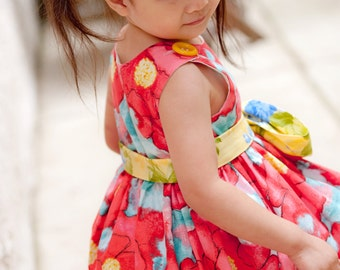 Floral Dress - Girls Dress - Special Occasion -  Knot Dress - Wedding - Flower Girl - Shabby Chic - Red - KK Children Designs - 2T to 6T