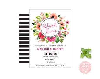 Floral Rehearsal Dinner Invitation, Wedding Stationary, Wedding Rehearsal Dinner DIY Printable -  Lovely Little Party