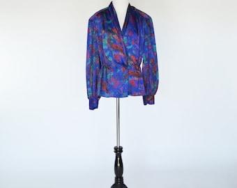 Clearance 1980's Purple Secretary Blouse - Long Sleeve Crossover Peplum Top - Fun retro Top- Ladies Medium