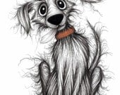 Fluffy dog Print download Fashionable trendy happy pet dog pooch with a sticky out tongue wearing comedy striped hat Humorous animal picture