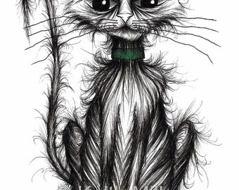My bad cat Print A4 size art picture printed on paper Naughty scruff badly behaved pet kitty puss moggy with bent tail and mean looking face