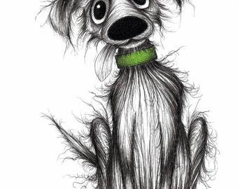 Fido the dog Print download Ultra cute friendly little puppy doggie pooch with sticky out tongue in green collar Sweet pets animal picture