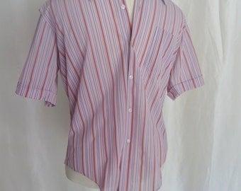 Vintage mens button down shirt, mod lavender red yellow white stripe shirt, 60s Sir Walter size 16 shirt
