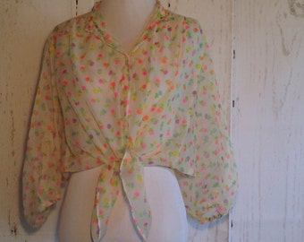 Vintage 60s Neon Flowers Sheer Blouse