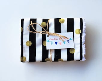 Gold Polka Dot Burp Cloths, Black and White Stripe Burpees, Boutique Burp Cloths, Baby Girl Gift, Set of 2, Free Shipping, Ready to Ship
