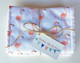 Flamingo Burp Cloths, Pink Peach Coral Burpies, Free Shipping, Set of 2, Baby Shower Gift, Flamingoes Tropical Nursery Theme