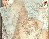 BEIGE BLUE - Printable Download Digital Collage Sheet  Vintage Ephemera ChikUna Art Paper Craft, Scrapbook, Gift tags