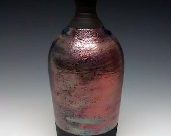 Raku Pottery - Copper - Blue - Handmade Vase