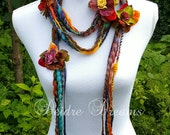 Long Fringe Scarf, Art Yarn Scarf, Lariat Scarf, Flower Garland, Hippie Scarf, Eco Chic, Bohemian Fashion, Eco Friendly Wear, Boho Chic Wear
