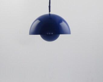 Blue enamel on steel Flowerpot from Verner Panton for Louis Poulsen. Original 1960s danish enamel version
