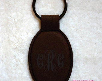 Personalized Oval Key Chain, Monogrammed Leather Key Chain, Leather Key Fob, Custom Key Fob, Custom Key Chain