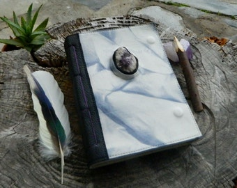 A5 Leather Journal with Raw Australian Amethyst and Quartz Tie Dyed Recycled Leather Diary Handbound Book