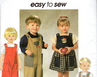 Easy Toddler Boy & Girl Dress, Jumper, Jumpsuit and Romper Pattern - Size 2, 3, 4 - Simplicity 7729 uncut