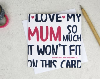 Funny Mum Card - card for Mom - Mam - Mother - mothers day card - funny card - Mum birthday - Mommy - Mummy