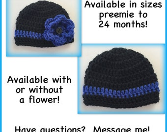 Baby hat, black and blue hat, boy, girl, flower hat, thin blue line, preemie, 0-3 months, newborn, 3-6 months, crocheted baby hat