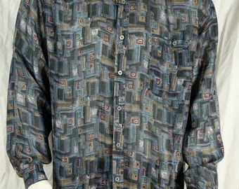 Silk shirts Mens vintage clothing 90s long sleeve button up shirts Preppy hipster button down shirt Casual gray abstract print shirt L