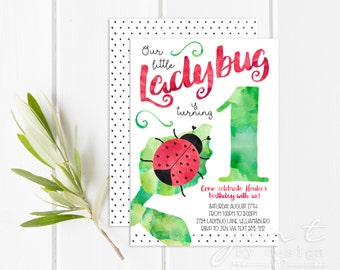 Ladybug Invitations - Ladybug Birthday Invitations - 1st Birthday