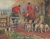 After the Hunt - Vintage 1920s Artist-signed Fox Hunt Riders, Horses and Hounds Postcard
