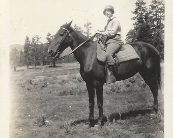 Unflappable - Vintage 1920s Woman on Horse Photograph