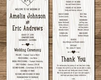 Rustic Wedding Program, Ceremony Program - PRINTABLE files - country wedding, woodland wedding, faux bois, wood grain - Amelia