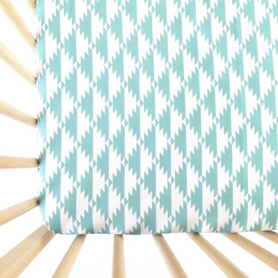 Crib Sheet Aqua Tribal Fitted Crib Sheet Baby Bedding Crib