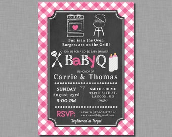 Girl Baby Q invitations baby shower pink coed bbq plaid Ella BB17 Digital or Printed