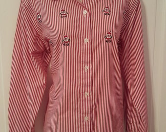 Earn Your Stripes SANTA // 90's Candy Cane Impressions RED STRIPED Blouse Button Patch Down Shirt 80's Ugly Christmas Size 12 m/l Holiday