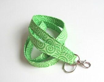 Id Badge Lanyard Green Key Holder, Keychain Fabric Lanyard Gift for Teacher