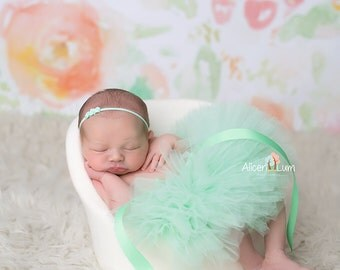 MINT TUTU and Headband, Newborn Tutu, Baby Tutu, Infant Tutu, Newborn Photography Prop, Photo Prop, Tutus for Children, Birthday Tutu, Mint