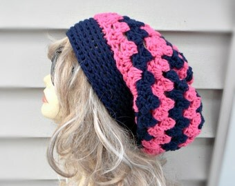 Slouchy Hats For Women Crochet Slouchy Beanie Womens Hats Pink Navy Blue Combination Slouchy Hat