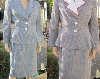 "Vintage 80s Lilli Ann versatile skirt suit with detachable collar, black and white check Bust 40"" Plus volupt"