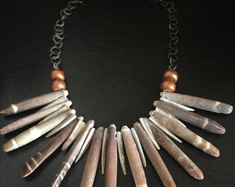 Sea Urchin Bib Statement Necklace with Copper Accents on Antique Copper Chain