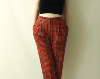 Vintage 1980's TARTAN Scottish Plaid WOOL Tailored Trousers / 80s High Waist Waisted Chic Pocket Trouser Pants Size Small Medium