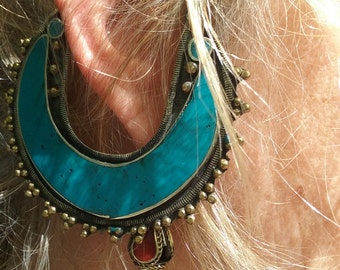 Pair of Hoop  Earrings Tribal Kuchi Jewelry