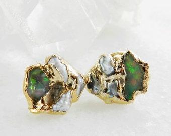 fire opal earrings, raw fire opal, keshi pearl earrings, pearl studs, fire opal studs, gold studs, gold earrings