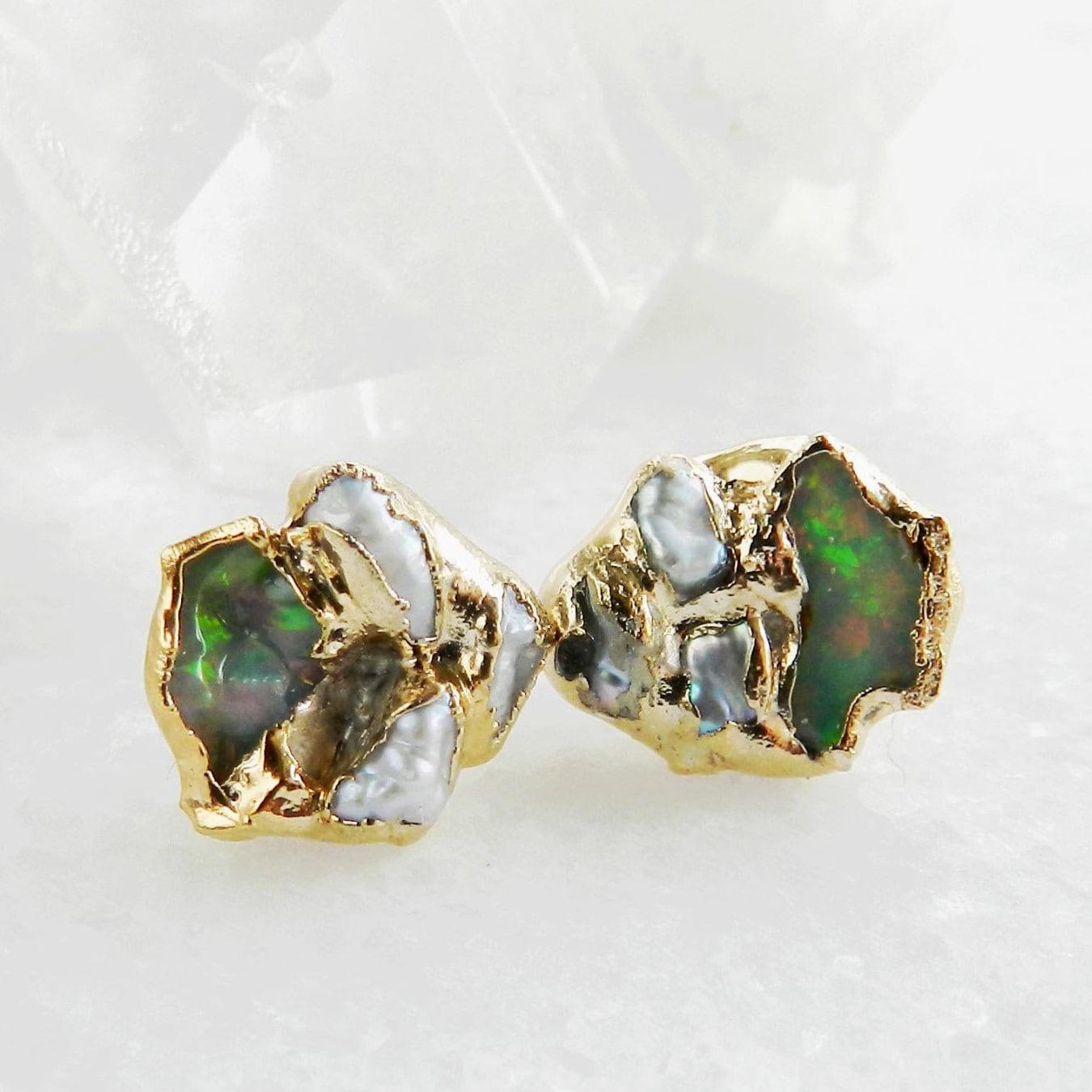 fire opal earrings raw fire opal keshi pearl earrings pearl