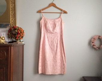 Pink 1950s Dress / Vintage Wiggle Dress / 1950s Pink Party Dress