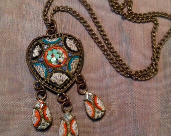 Micro Mosaic Necklace Victorian Edwardian Bridal Heart Floral Vintage Italy