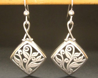 Sterling Earrings Art Nouveau earrings, handmade in USA