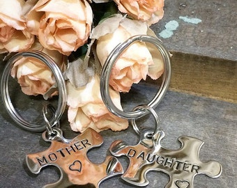 Mother Daughter Hand Stamped Puzzle Piece Keychain Set - Custom - Personalized - Stainless Steel - Made in the USA