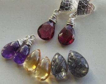 Heart and Garnet, Purple Amethyst, Pink Amethyst, Citrine OR Rutilated Quartz Ear Rings
